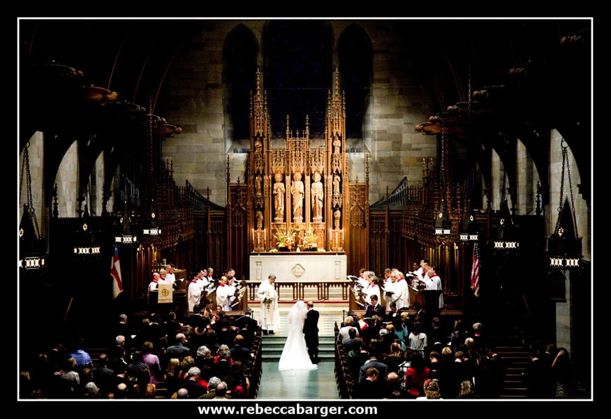 The St Paul 39s Episcopal Church choir sings during their wedding ceremony