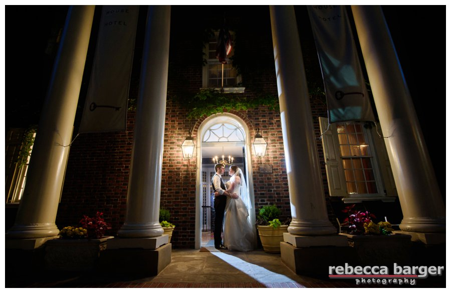 What a lovely spot for an end of the night kiss at Morris House Hotel, Best Wishes, Jess + Eric ~rebecca barger