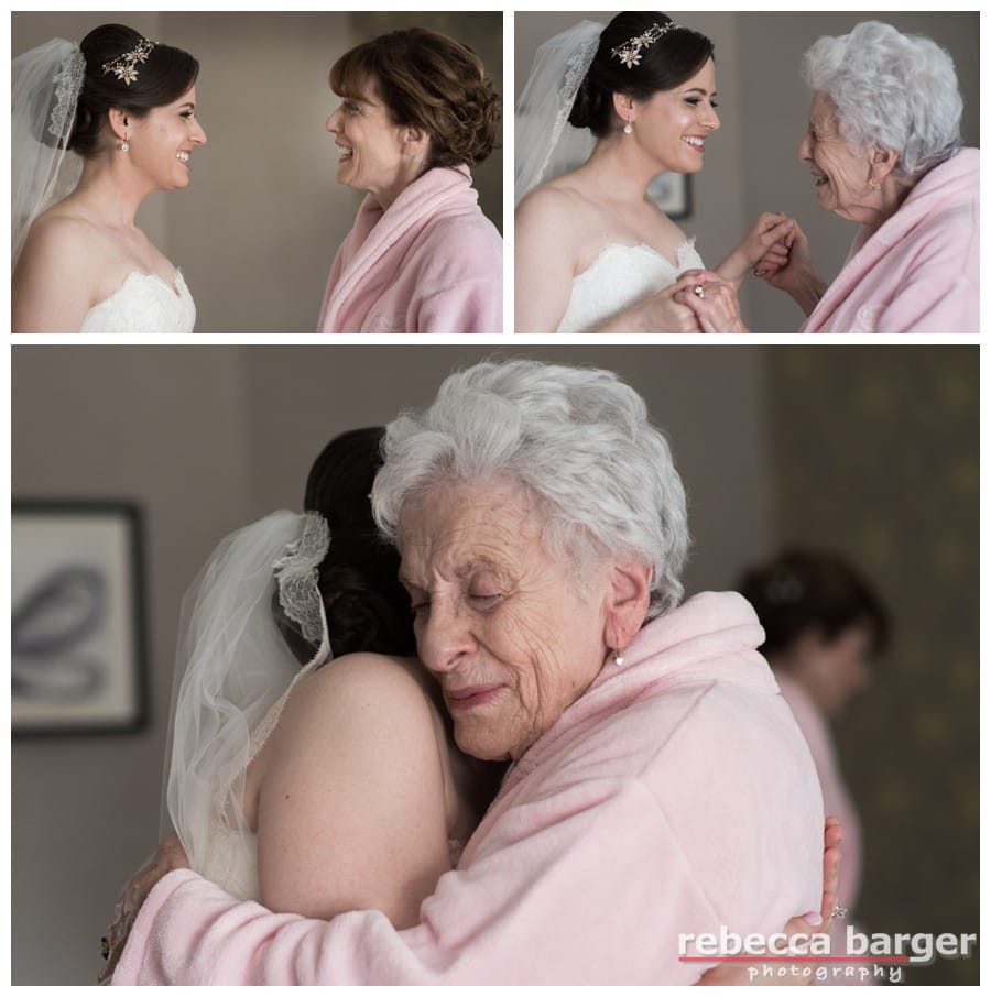 Wedding day hugs from Mom and Grand mom.