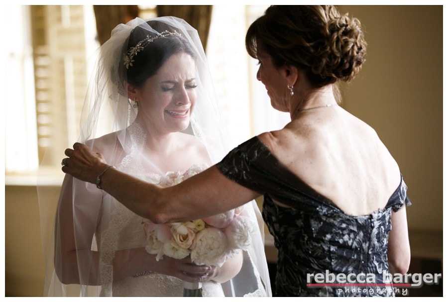 Rachel's mother comforts her during a couple preceremony tears…