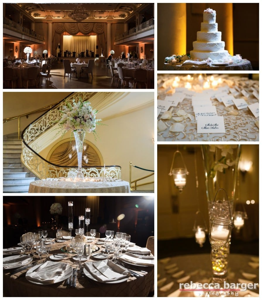 The classic and gorgeous Grand Ballroom at the Hyatt at The Bellevue, Philadelphia, flowers by Carl Alan Floral Design.