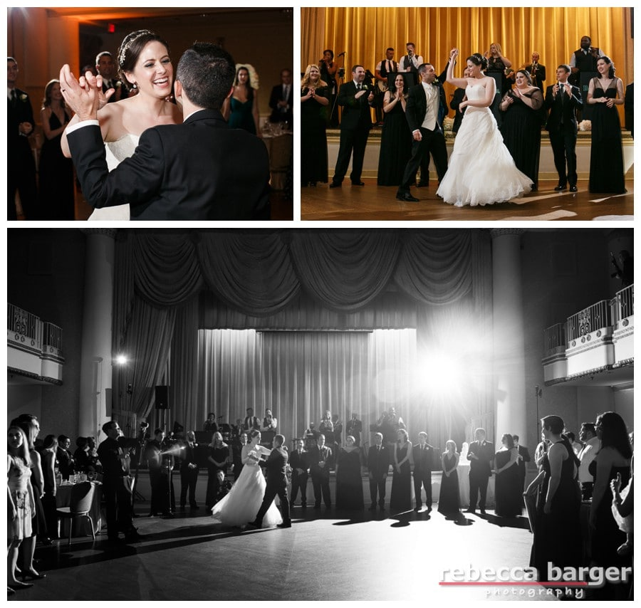 Rachel and Stuart's first dance on their wedding day,  in the Grand Ballroom at The Hyatt at Bellevue, Philadelphia.