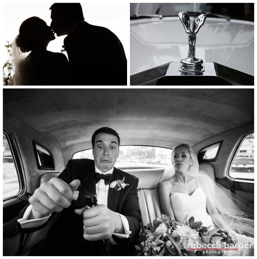 Starting wedding day with champagne in the Rolls Royce!  Rebecca Barger Photography.