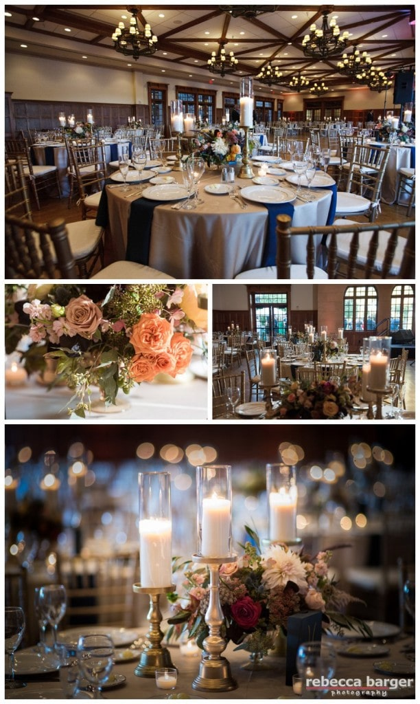 Lovely decor of the Aronimink Ballroom by  Sullivan Owen Floral & Event Design.