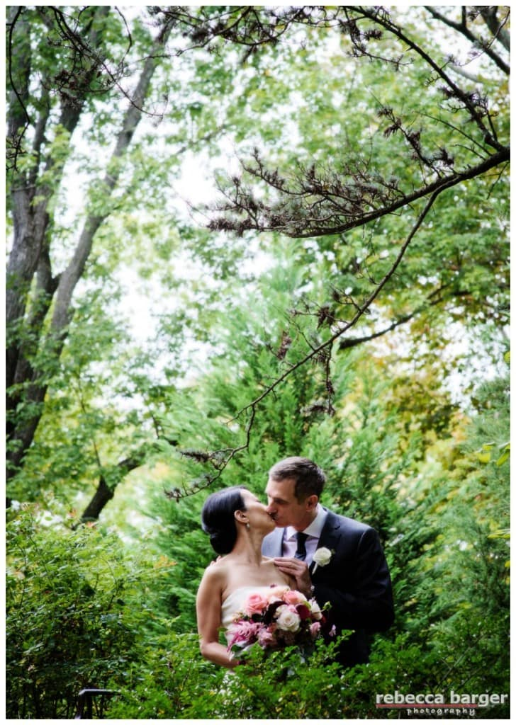 Love this image of Karen and Jim snuggling in the  garden at Pomme, A Peachtree + Ward venue.
