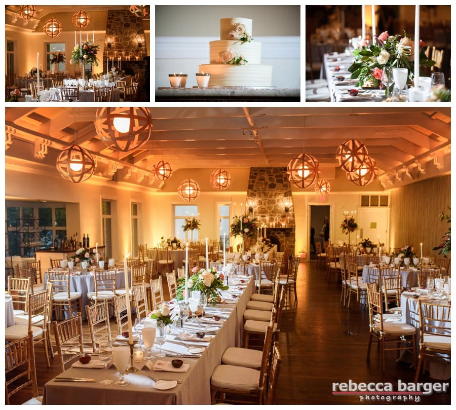 Gorgeous decor at Pomme, by Proud To Plan, flowers by Amaranth Florist, lighting by Synergetic and cake by Clay's Corner Creative Bakery.