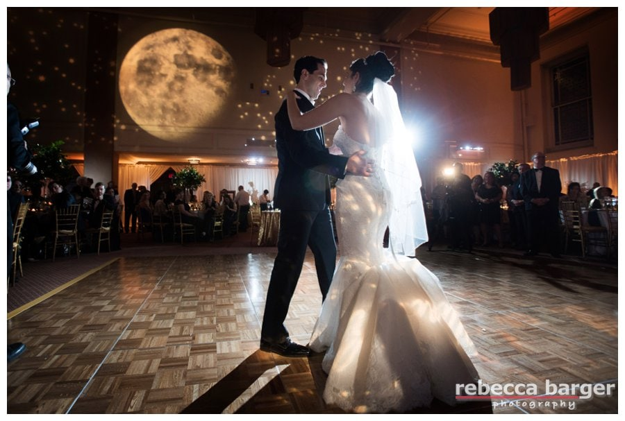 Logan + Yoni's gorgeous first dance, celestial lighting by EBE, Rodeph Shalom Wedding, Rebecca Barger Photography.