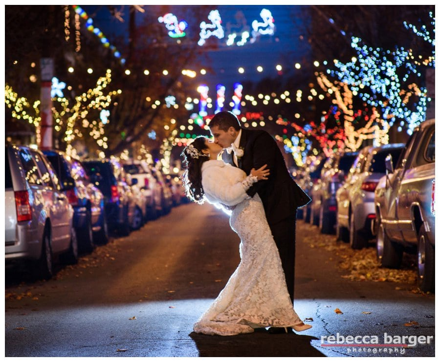 Newlyweds, Adriana + Dominic stopped for a quick South Philly Christmas kiss!  Gorgeous gown from Nicole Bridal.