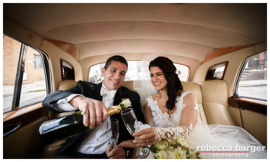 Champaign in a 1962 Rolls Royce, cheers Adriana + Dominic!