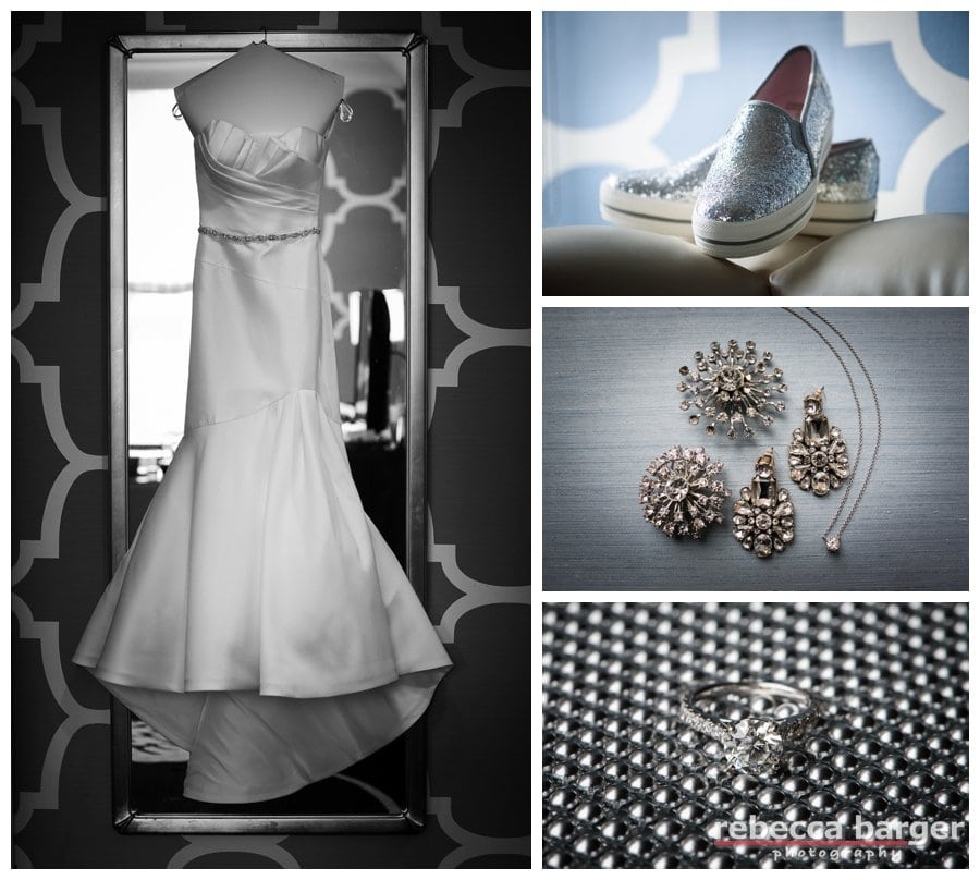 A lovely Martina Liana gown from Philly Bride and Tracey's wedding day jewelry, oh, and fun shoes!