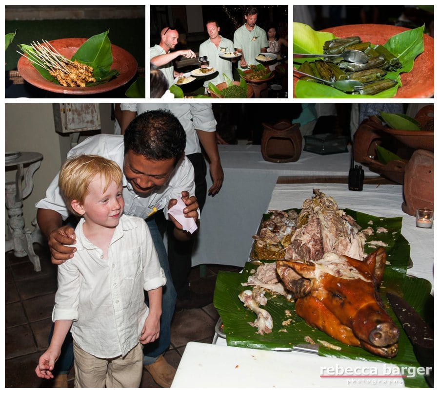 Roasted pig, chicken satay and banana leaves!