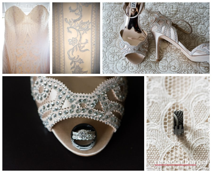 Gorgeous gown, Badgley Mischka's and lovely rings!