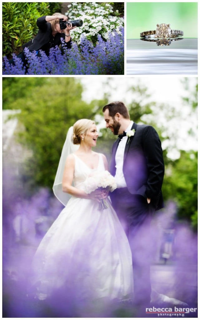 Fun shot of the couple through the purple heather by Rebecca Barger.