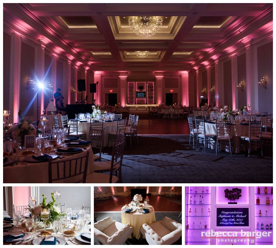 Finley Catering's, Ballroom at Ellis Preserve, Fleur de lis Floral decor.