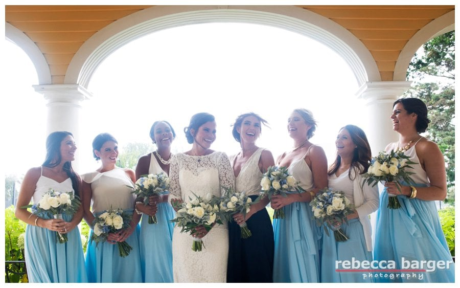 Liz and her gorgeous bridesmaids in the most stunning of blue dresses.