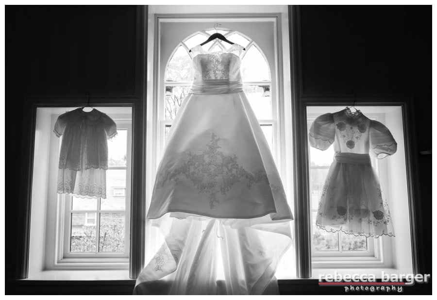 From left, baby shower dress, wedding gown, communion dress!  Gown from Van Cleve Bridal.