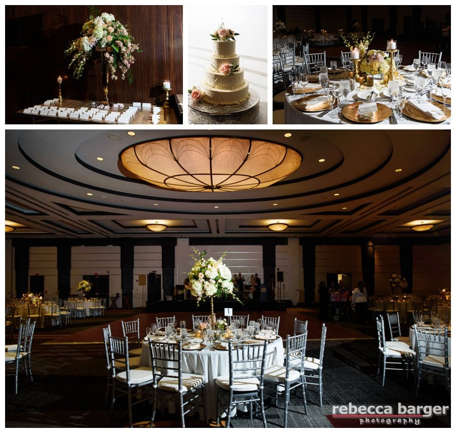 Loews Regency Ballroom awaits Kiera and Mark, stunning decor by Carl Alan Floral Design.