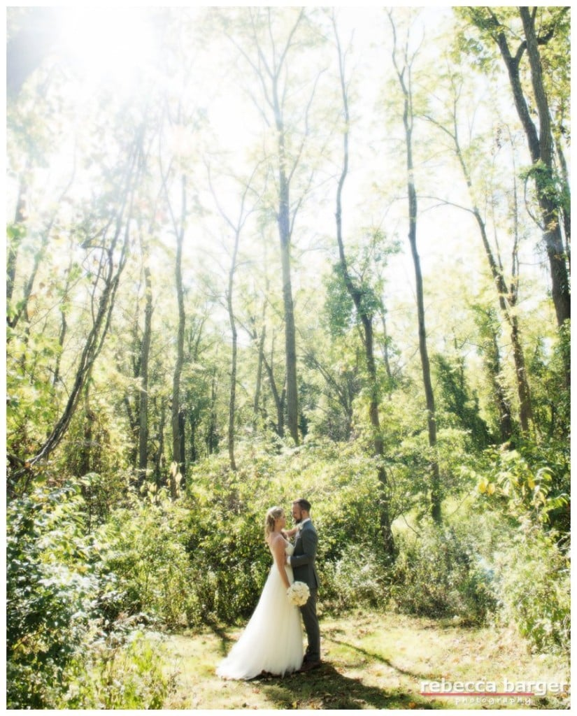 The soon to be married couple out in the woods, Anthony Wayne House.