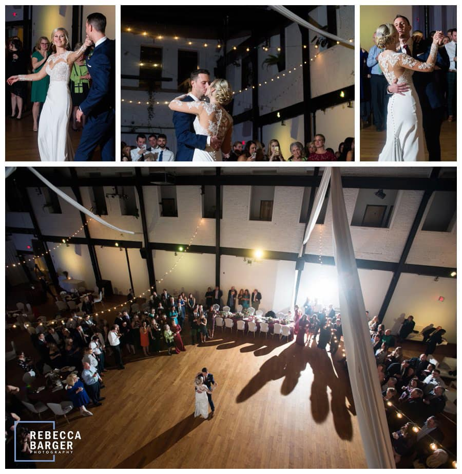 Jenna and Dan enjoy their first dance as the market lights twinkle at Kensington's Event Center.