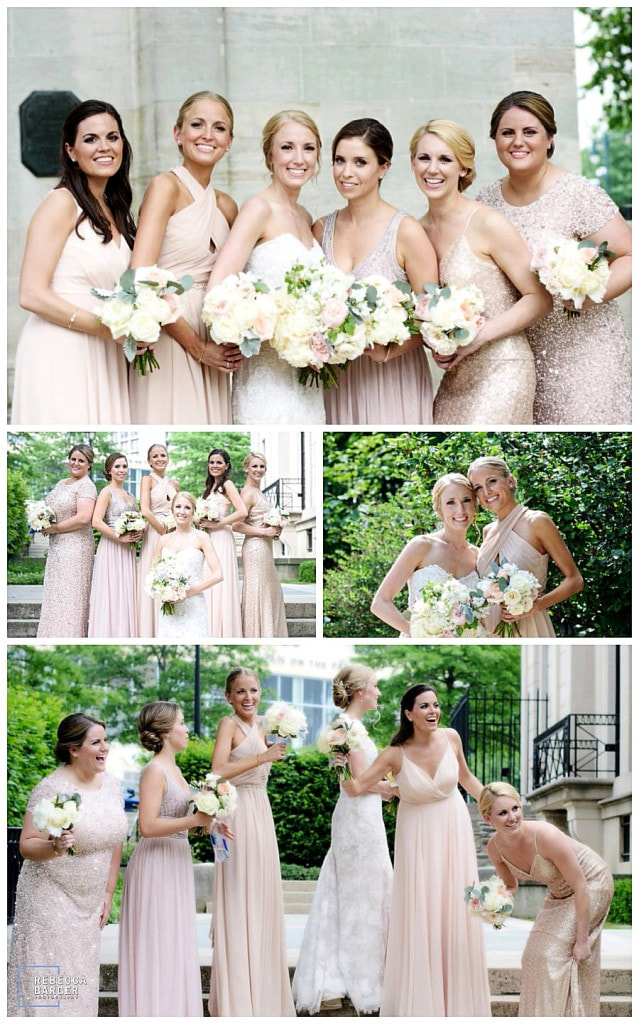 The bridesmaids wore blush, such gorgeous shades for their Spring time wedding in Philadelphia.