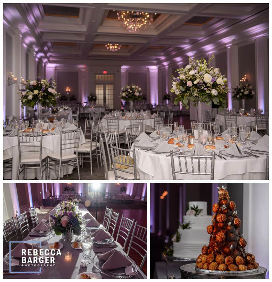 Finley Catering's Ellis Preserve's Ballroom, gorgeous lighting, flowers and both a traditional cake along with a lovely croquembouches French wedding cake.