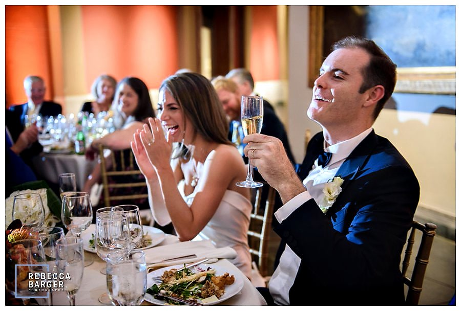 The newlyweds share a laugh and a toast during their reception at PAFA, Constellation Catering Group, Rebecca Barger Photography.