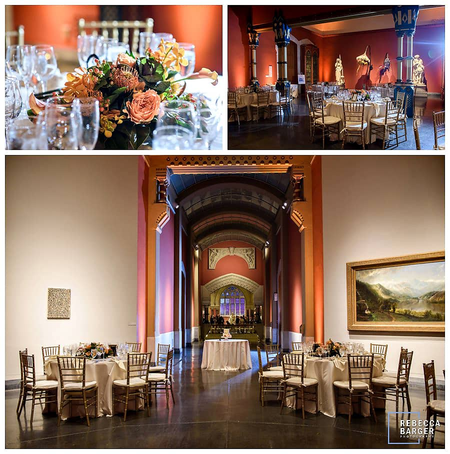 Emily & Johnny's wedding reception at PAFA's Historic Landmark Building, Phila., Flowers by Robinson's Flowers and Events, Chestnut Hill.