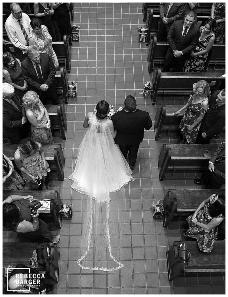 catholic ceremony, balcony view of bridal procession, catholic wedding