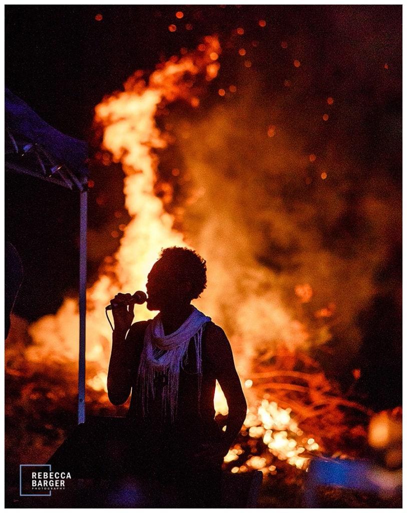 bonfire outdoor wedding