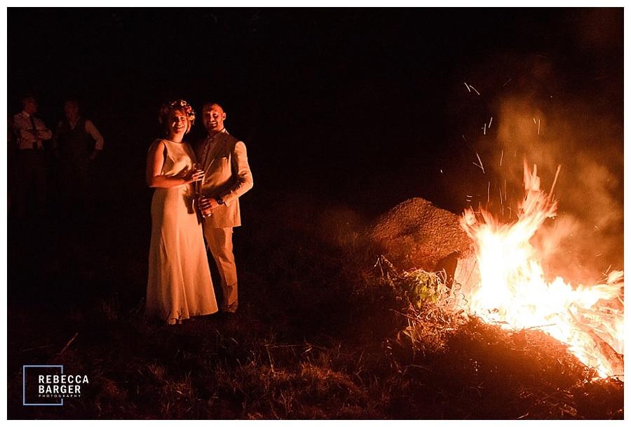 bonfire wedding couple Phila