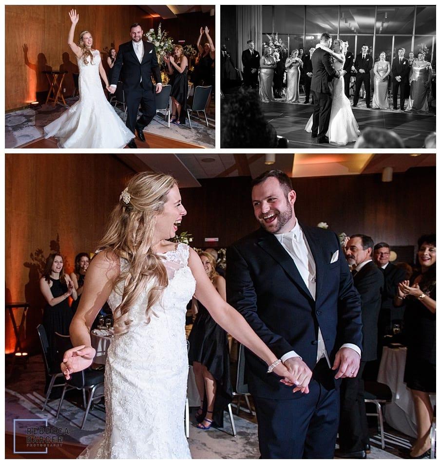 groom and bride enter reception